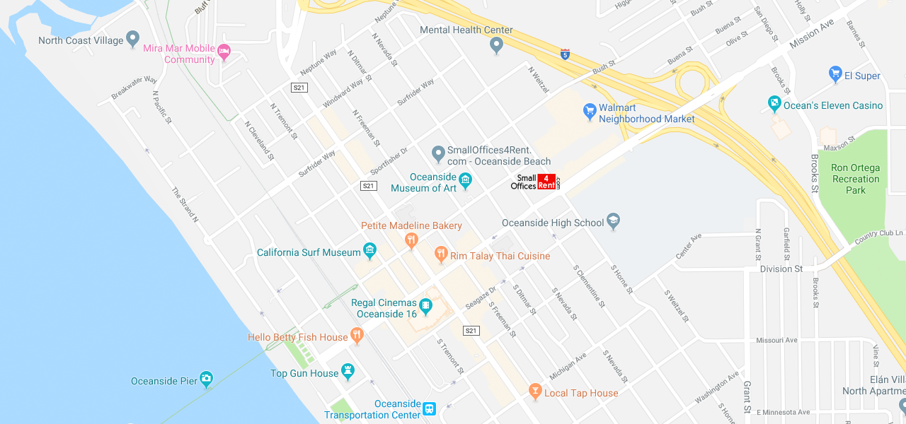Oceanside Downtown Mission Avenue Location Map